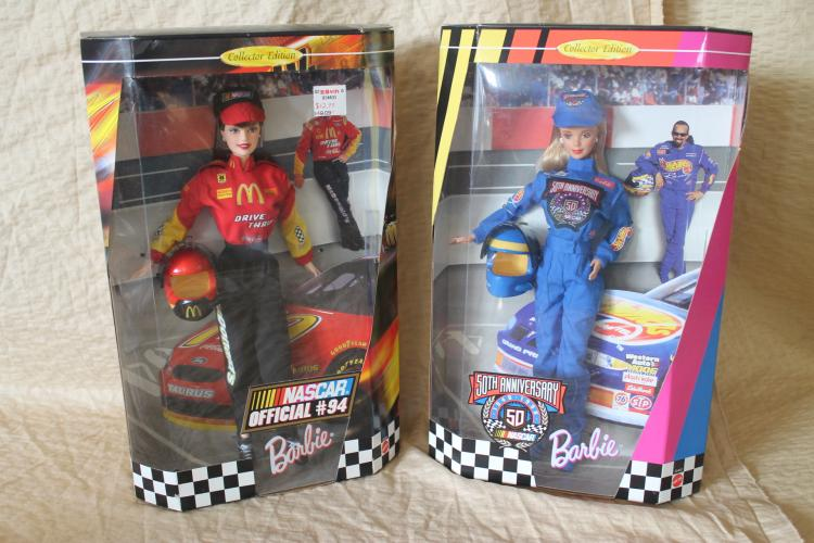 Racing Barbie dolls