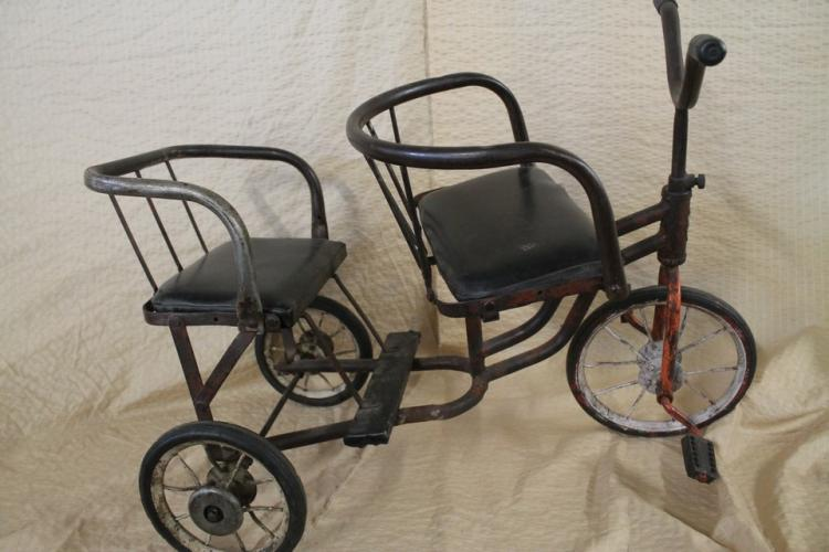 Rare antique tricycle built for 2