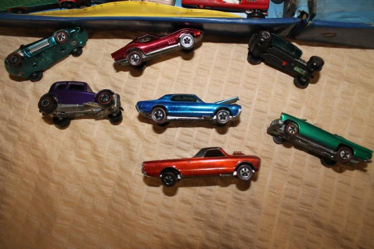 Toy car suitcase of vintage hot wheels cars