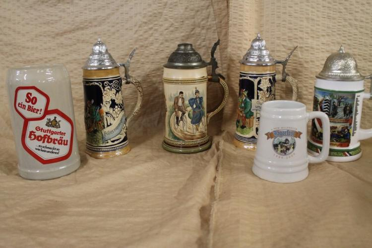 Lot of 6 steins