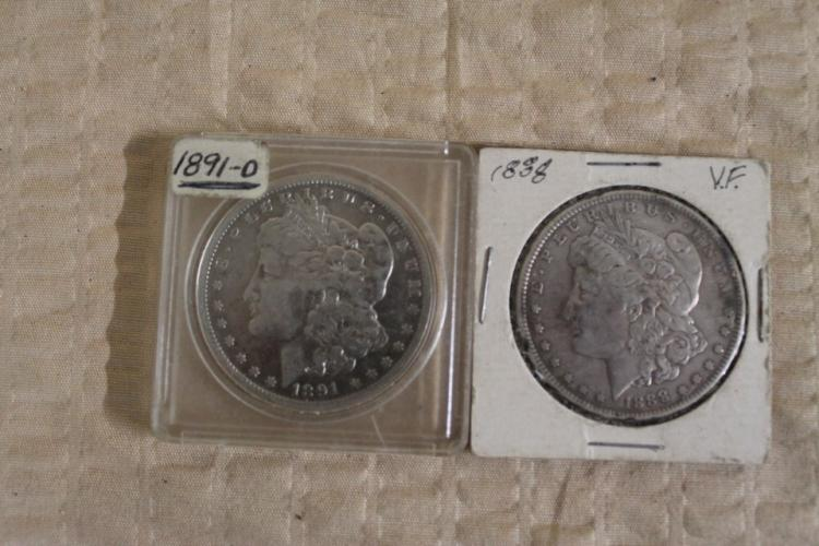 Lot of 2 Morgan Silver Dollars