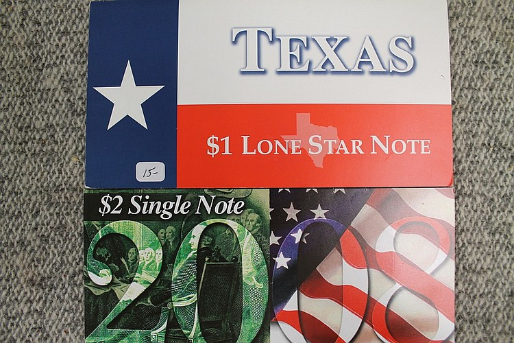 Texas lone star note and Boston serial code 2008 note