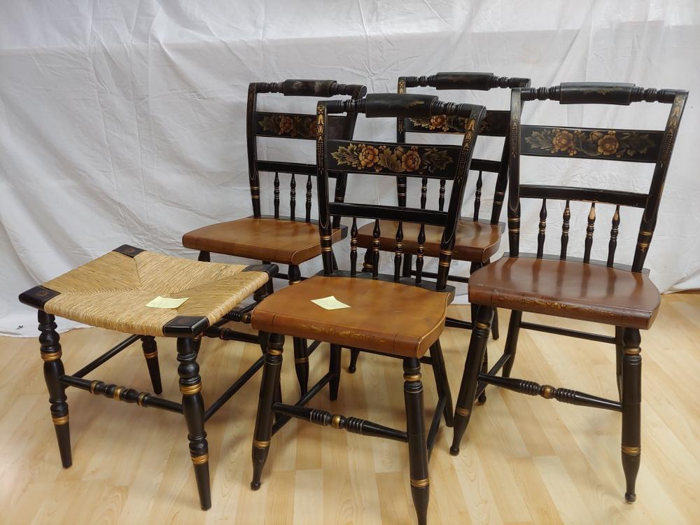 Set of 4 Hitchcock Chairs With Footstool