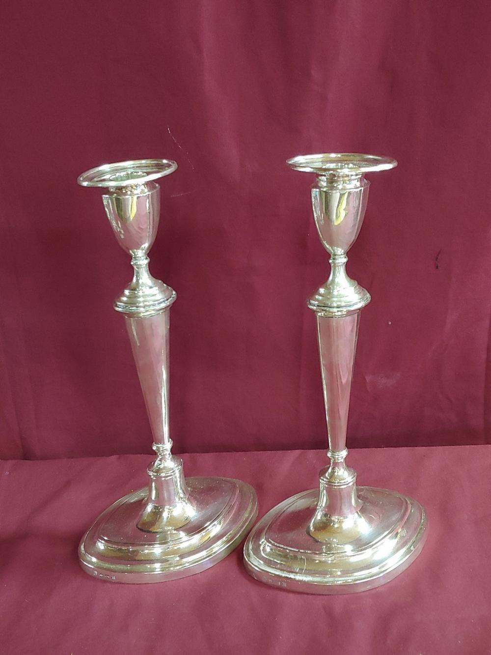 Pair of 1887 Hawksworth and Eyre Co. Sterling Candlesticks