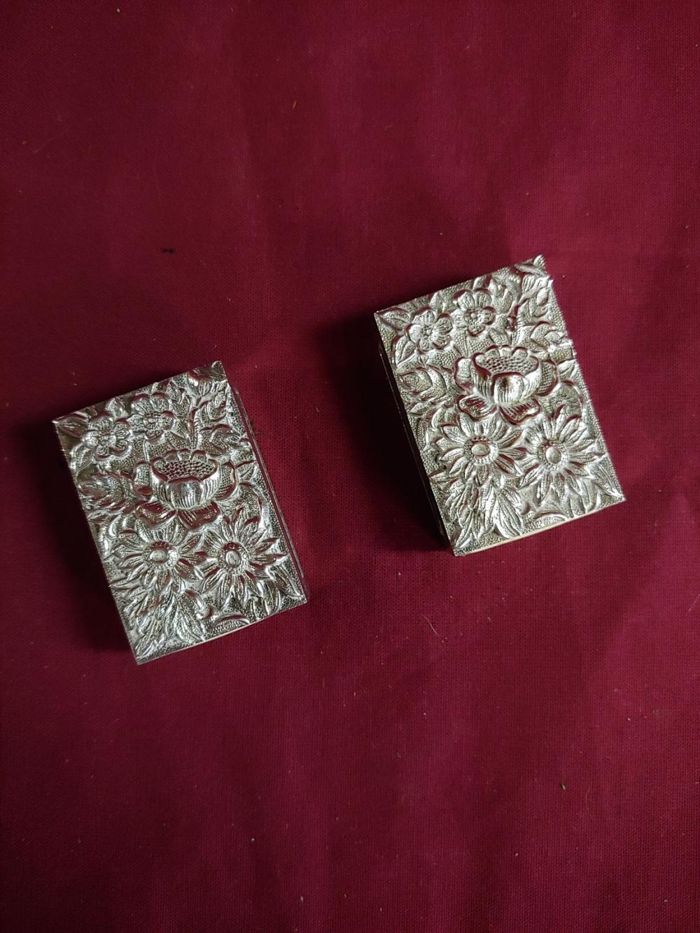 Pair of Sterling Floral Matchboxes