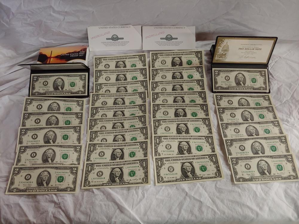 Collection of Uncirculated One and Two Dollar Bills