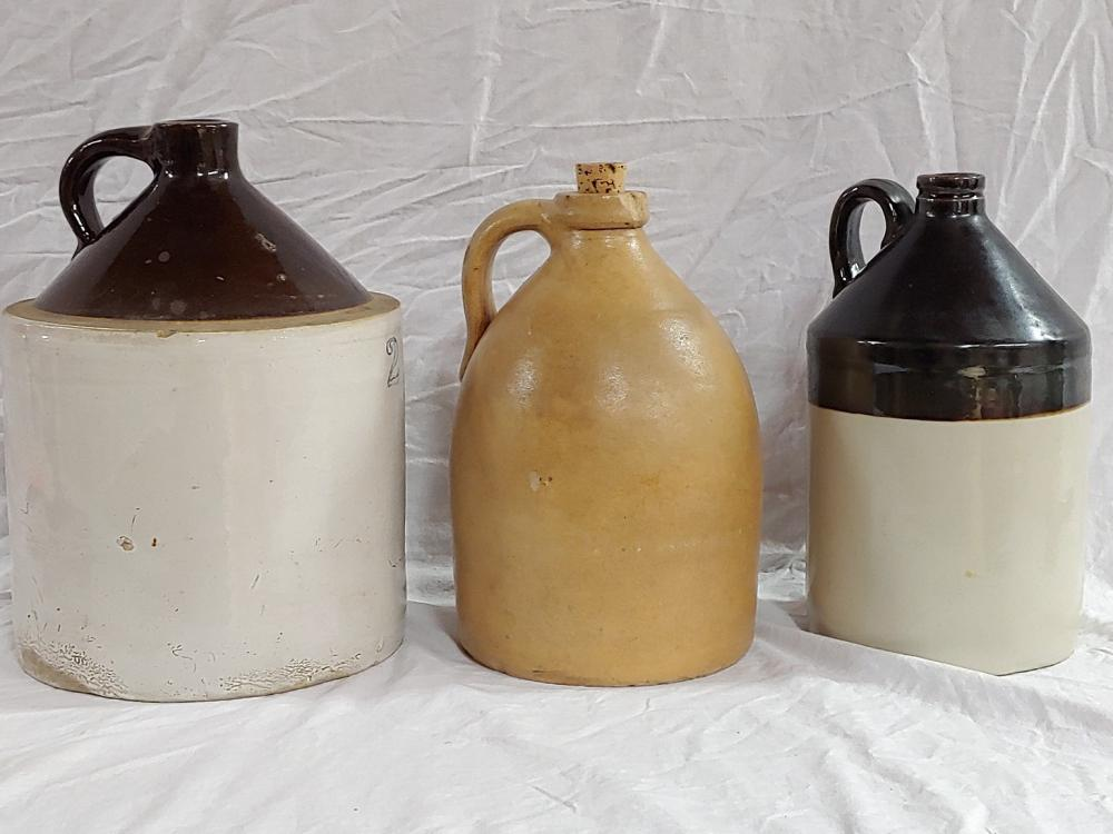Grouping of Three Pottery Jugs