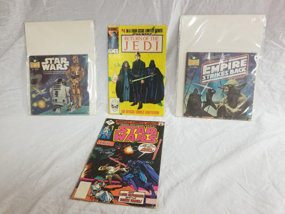 Two Bronze Age Star Wars Comics and Two 1970s Star Wars Book and Record Sets