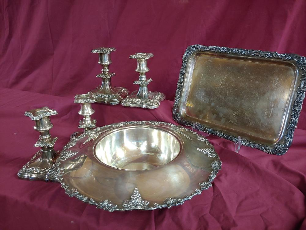 Silverplate Tray Set with Candlesticks