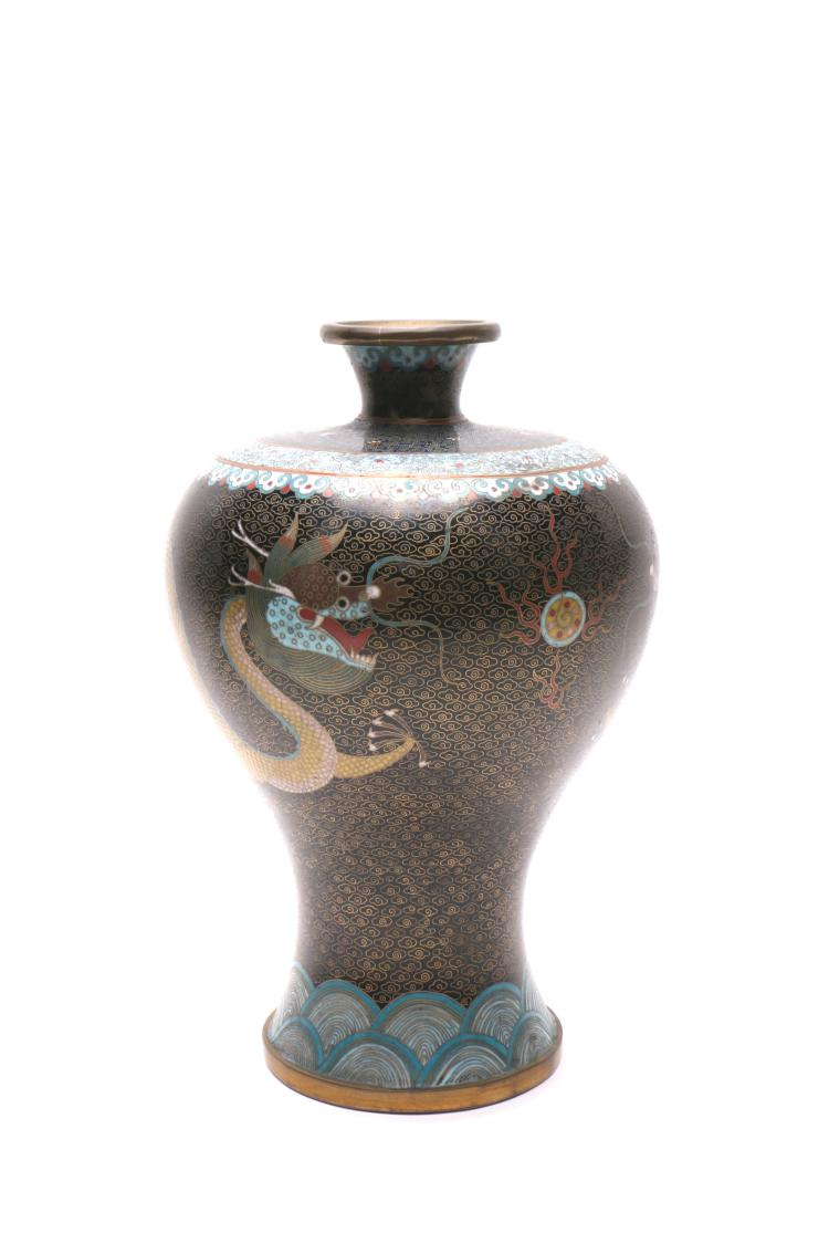 Chinese cloisonne vase and bowl for Asian antiques uk