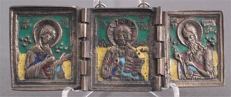 Kleiner Tischaltar, Triptychon, Russland 19. Jh.