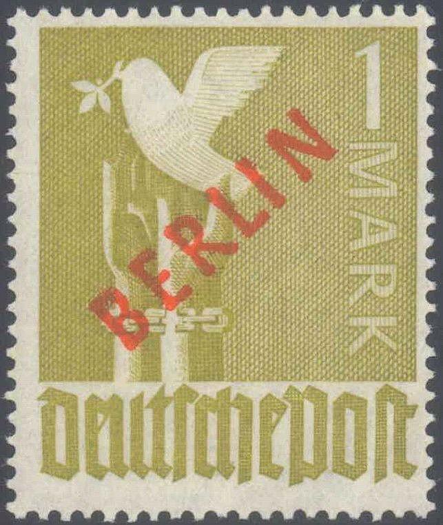 1949 Berlin, 1 Mark Rotaufdruck