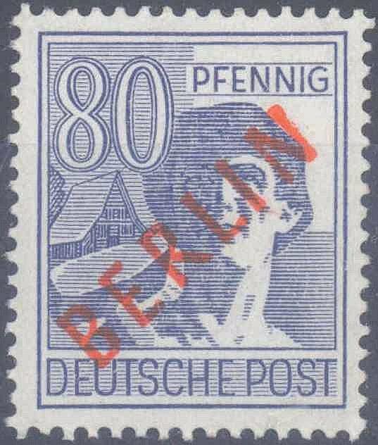 1949 Berlin, 80 Pfennig Rotaufdruck