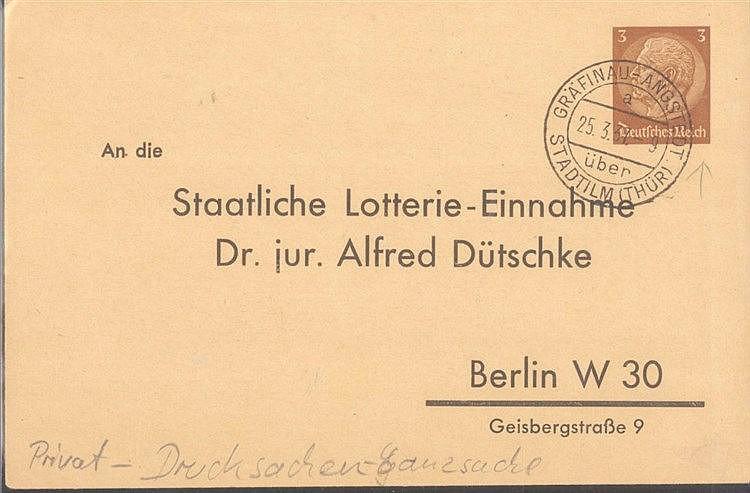 III. REICH 1937 LOTTERIE PRIVATGANZSACHE, Gräfinau-Angstedt