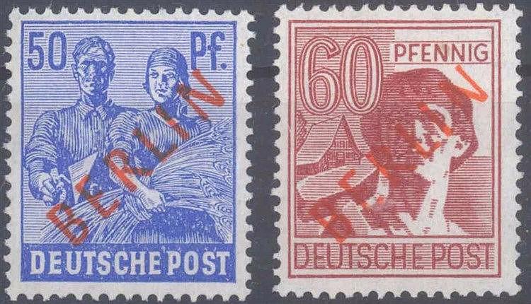 1949 Berlin, 50 und 60 Pfennig Rotaufdruck