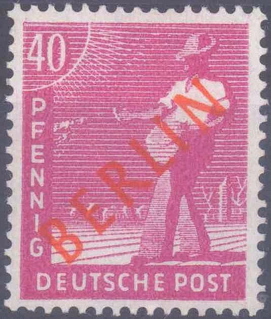 1949 Berlin, 40 Pfennig Rotaufdruck