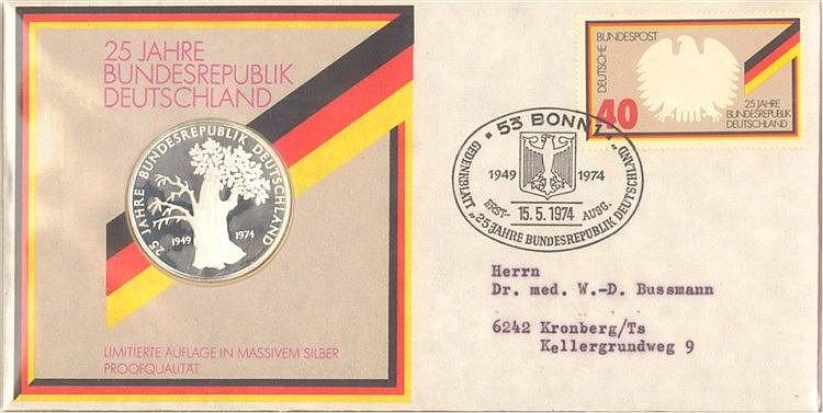 1974 SONDERFOLDER 25 Jahre BRD, 925er Ag Silber Medaille