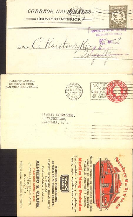 1929/1930 USA - GUATEMALA, interessante US - Ganzsache mit