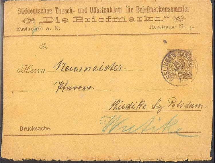 WÜRTTEMBERG 1895, Streifband - Ganzsachen ab ESSLINGEN