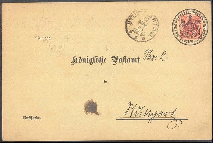 WÜRTTEMBERG 1901, Vorausentwertungs - Ganzsachen