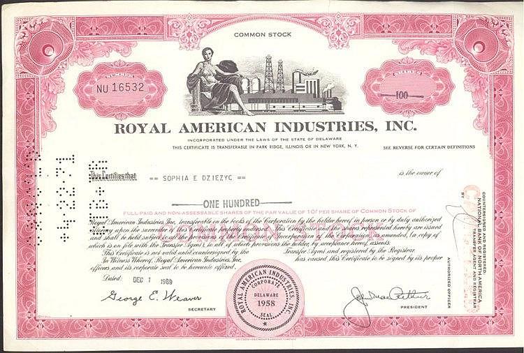 Aktie, Royal American Industries Inc