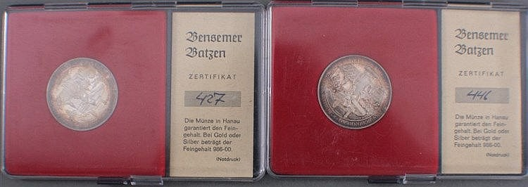 2 Silbermedaillen, Bensemer Batzen