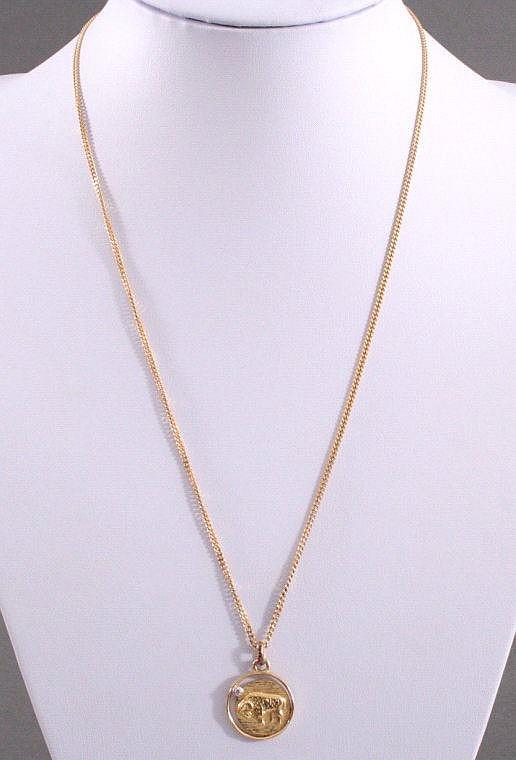 Halskette mit Sternzeichenanhänger 'Widder' 585/000 GG