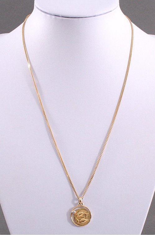 Halskette mit Sternzeichenanhänger 'Fische' 585/000 GG