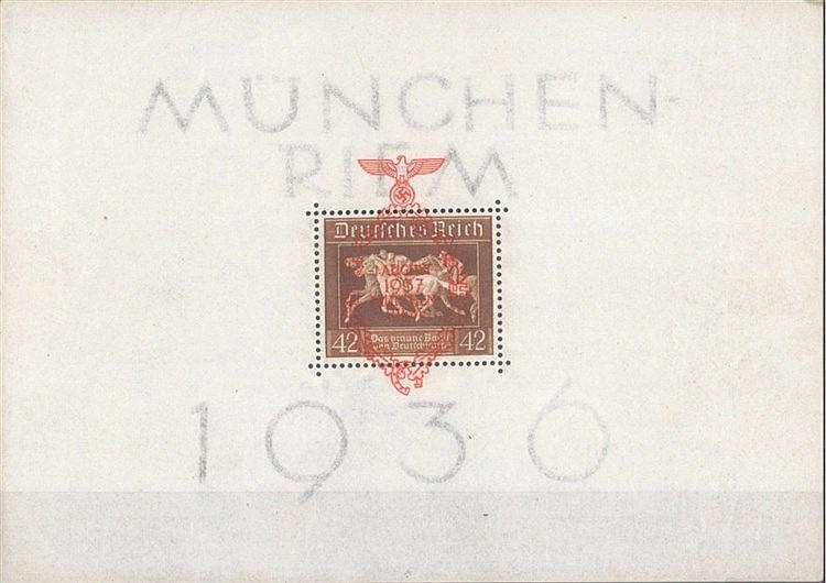 1937 DEUTSCHES REICH, Braune Band - Block mit Überdruck