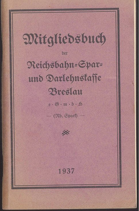 1939 III. REICH, auch MOTIV EISENBAHN, auch HEIMAT BRESLAU