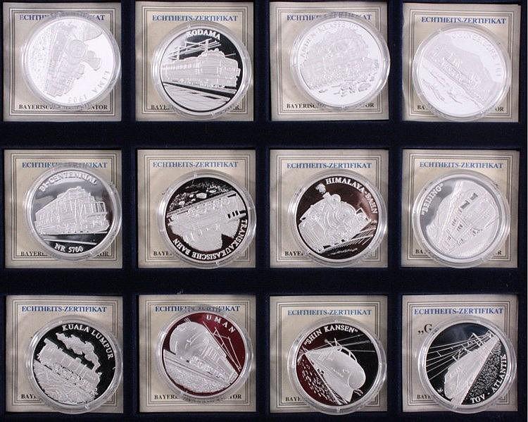 12 x Silbermünze Geschichte der Eisenbahn