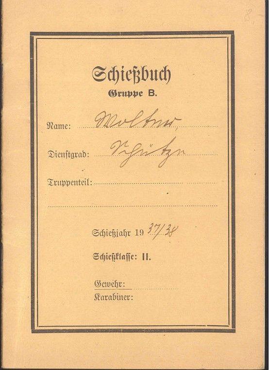 1937 III. REICH - SCHIESSBUCH Gruppe B, Schiessjahr 1937/38