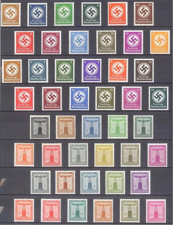 1934/1944 DEUTSCHES REICH, Dienstmarken Hakenkreuz und Adler