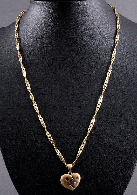 Herzanhänger Diamant, Rubin und Smaragd, 585/000 GG