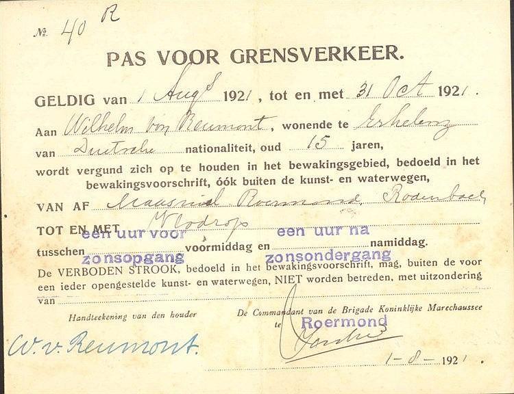 1922 RHEINLANDBESETZUNG, ERKELENZ, WILHELM von REUMONT