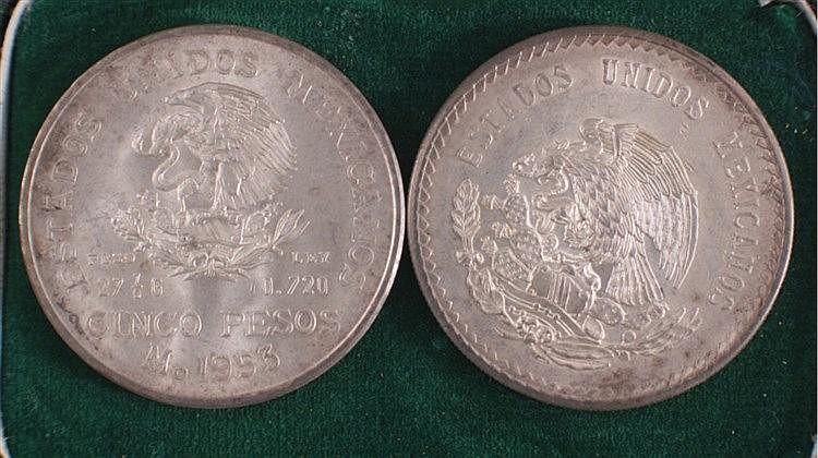 2 Silbermünzen Mexiko