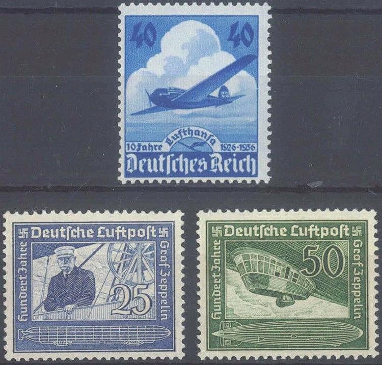 1936/38 DEUTSCHES REICH, Lufthansa und Zeppelin