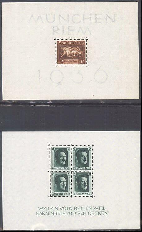 1936/1937 DEUTSCHES REICH, Braune Band und Hitler - Blocks