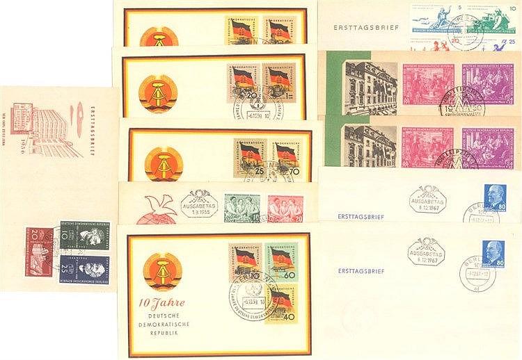 1950/1967 DDR, bessere Ersttagsbriefe mit 180,- Euro KW