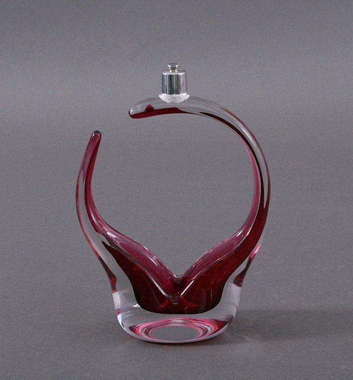 Murano, Sommerso Design Glas Henkelschale