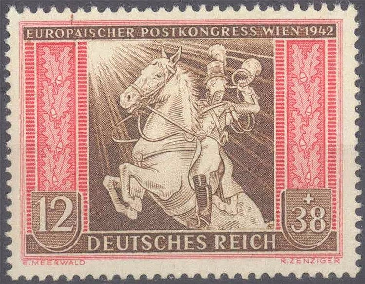 1942 III. REICH,12+38 Pfennig Postkongress mit Plattenfehler