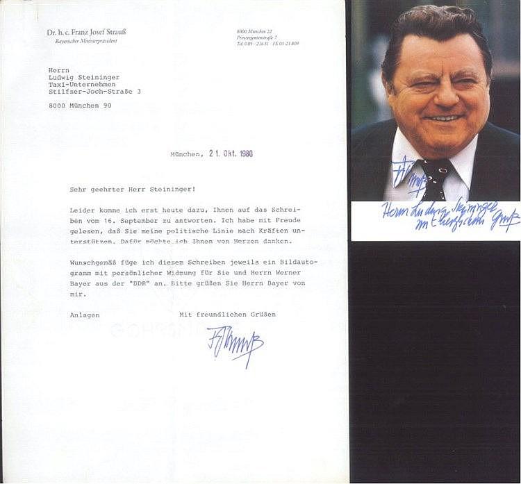 BAYERISCHE POLITIK, FRANZ JOSEF STRAUSS, Autogramm/Schreiben