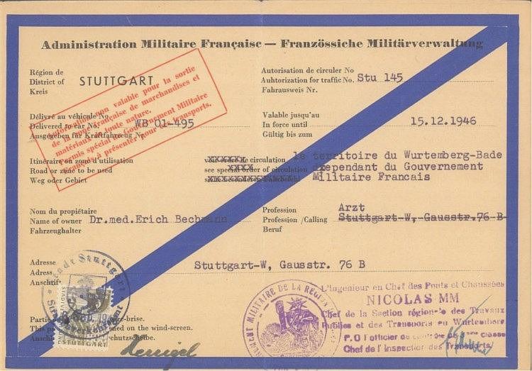 1946 FRANZÖSISCHE ZONE WÜRTTEMBERG, seltene ERLAUBNIS