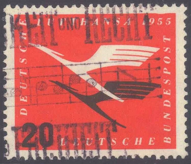1955 BUND, 20 Pfennig Lufthansa mit PLATTENFEHLER!NEU!