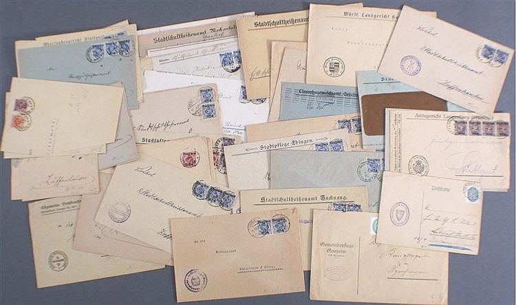 WÜRTTEMBERG 1920-1934, gelaufene Dienstmarkenbelege