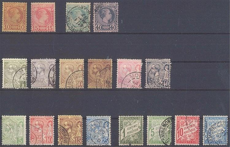 MONACO 1885-1904, kleines Lot von 18 verschiedenen Werten