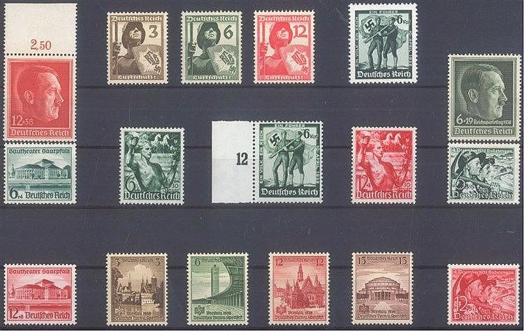 1937/38 DEUTSCHES REICH, postfrisches Lot mit Michelnummern