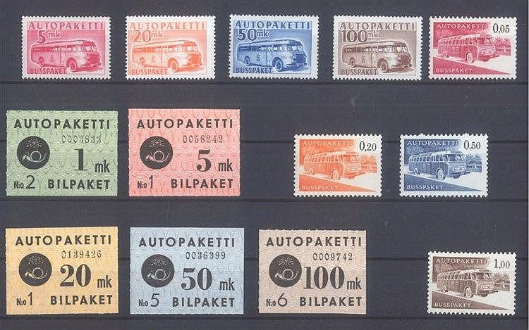 FINNLAND 1949-1963 - AUTO-PAKETMARKEN, selten angeboten!
