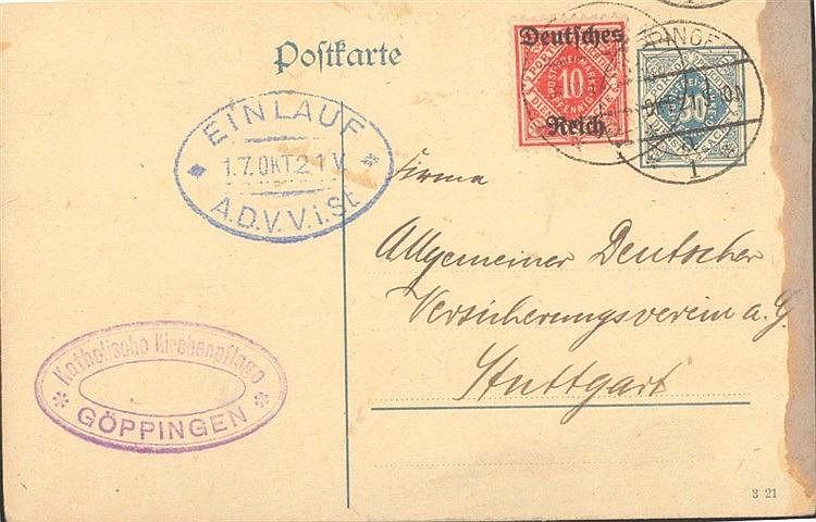 1921 DEUTSCHES REICH, Dienstpostkarte 'Für Württemberg'