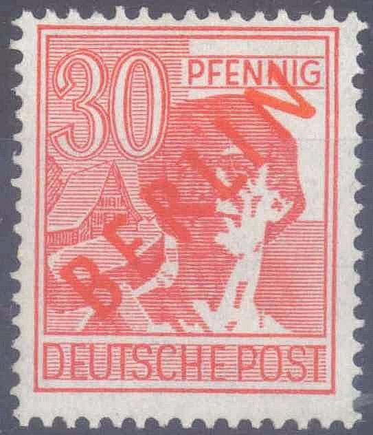 1949 Berlin, 30 Pfennig Rotaufdruck